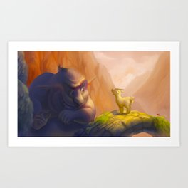 The goat and the troll Art Print