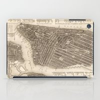 new york map iPad Cases featuring New York Map by Le petit Archiviste