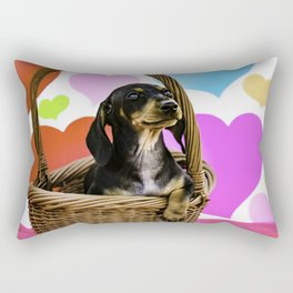Dachshund Puppy Sitting in a Basket with One Paw Hanging with Valentine's Day Heart Background Rectangular Pillow