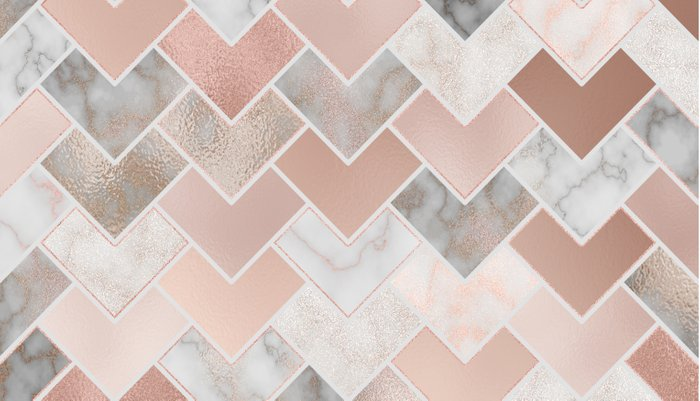 Rose Gold and Marble Geometric Tiles Pillow Sham