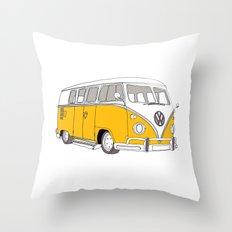 Yellow Volkswagen Camper Van (Landscape) (Kombi // VW) Throw Pillow