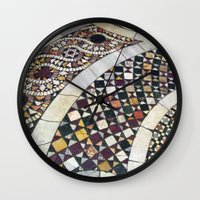 jewish Wall Clocks featuring Mosaic Tile Vatican Floor (Hidden Jewish Star) by Amanda Lynn Granek