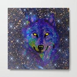 WOLF SPARKLE NIGHT SKY Metal Print