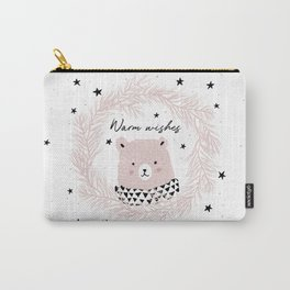 Pink bear and pine wreath Carry-All Pouch