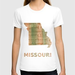 Missouri map outline Brown green blurred watercolor texture T-shirt