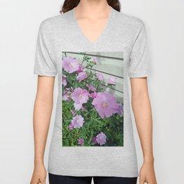 Pink Musk Mallow Bush in Bloom Unisex V-Neck