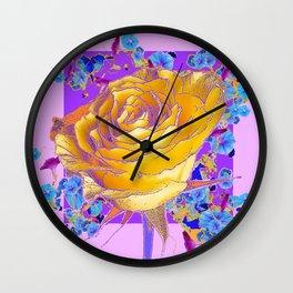 YELLOW ART ROSE FLOWERS  PURPLE-PINK DESIGN Wall Clock