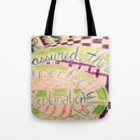 gravity falls Tote Bags featuring Gravity Falls Quote by writingoverashes
