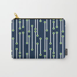 Dotted Lines in White, Lime and Navy Carry-All Pouch