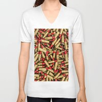 lipstick V-neck T-shirts featuring Lipstick by GrandeDuc