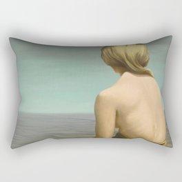 'Well-behaved Women Seldom Make History' female portrait by Kay Sage Rectangular Pillow