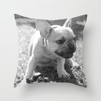 french bulldog Throw Pillows featuring French Bulldog by Kathleen Schulze