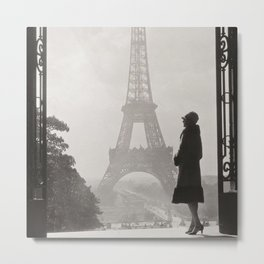 1920 Woman at the Gate, Eiffel Tower black and white photography / jazz age black & white photograph Metal Print