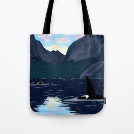 killer whales, lofoten islands Tote Bag