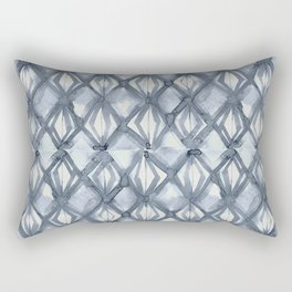 Braided Diamond Indigo Blue on Lunar Gray Rectangular Pillow