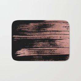 Modern black brushstrokes elegant faux rose gold Bath Mat
