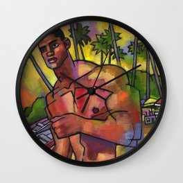 Guayacanes: Jeison in a Speedo Wall Clock