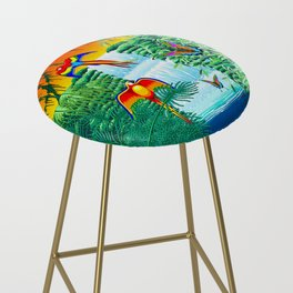 Waterfall Macaws and Butterflies on Exotic Landscape in the Jungle Naif Style Bar Stool
