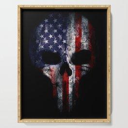 American Flag Punisher Skull Grunge Distress USA Serving Tray