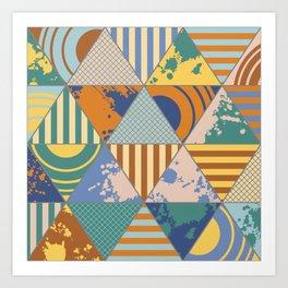 Multi Patterned Geometric Triangles Art Print