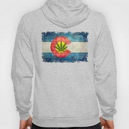 Retro Colorado State flag with leaf - Marijuana leaf that is! Hoody