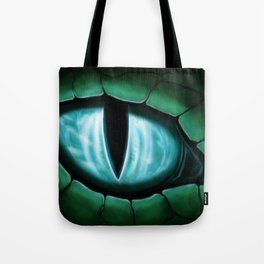 Cyan Dragon Eye Fantasy Painting Colorful Digital Illustration Tote Bag