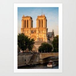 Notre Dame de Paris at Golden Hour - Paris, France Art Print