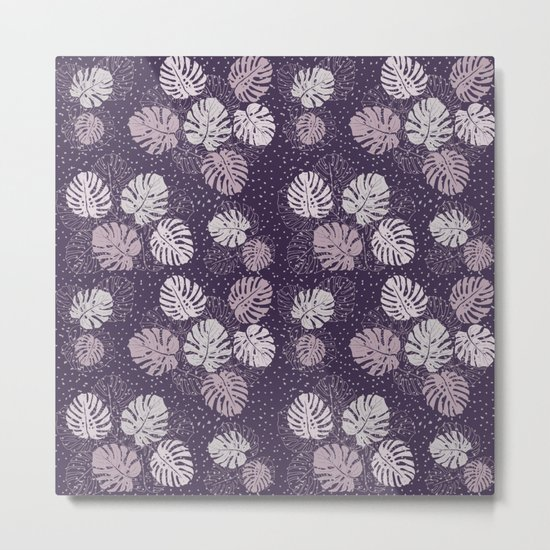 Purple Monstera Metal Print