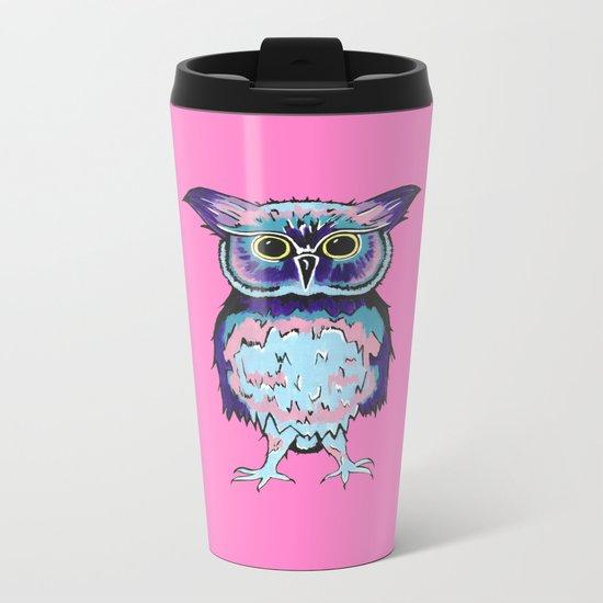 Small Owl Pink Metal Travel Mug