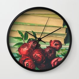 Books and Flowers Wall Clock