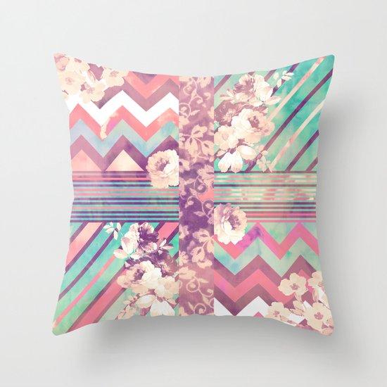 Retro Pink Turquoise Floral Stripe Chevron Pattern Throw Pillow