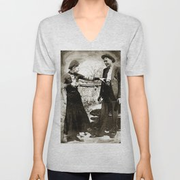Painting Of Bonnie And Clyde Mock Hold Up Black And White Mugshot Unisex V-Neck