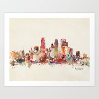 minnesota Art Prints featuring Minneapolis Minnesota by bri.buckley