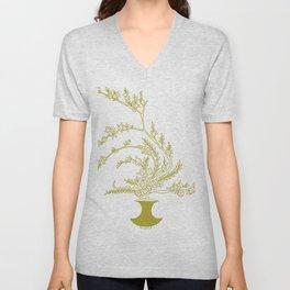 Olive Flowers in Vase Unisex V-Neck