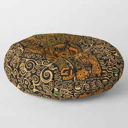 Aztec Elephant With Floral Pattern Floor Pillow
