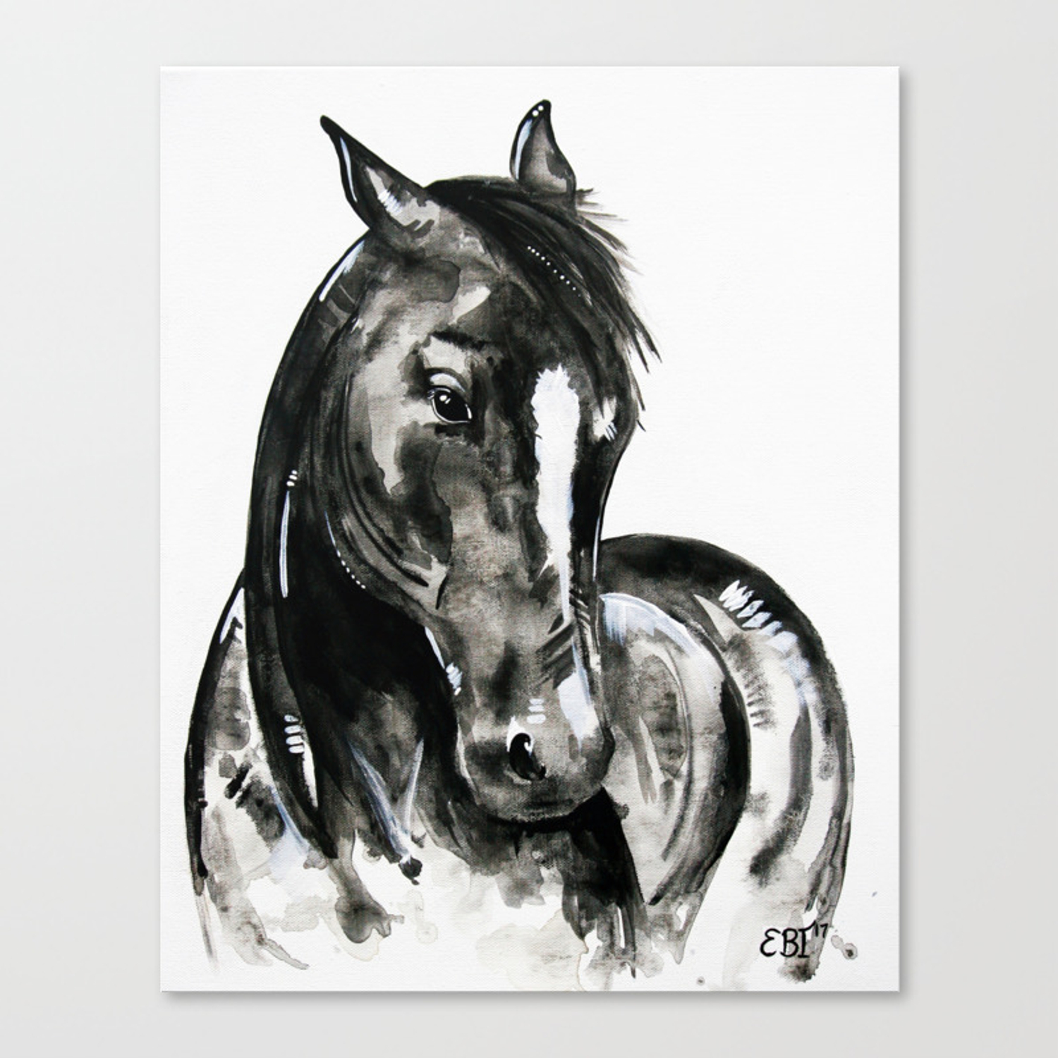 Play Of Light Black And White Horse Painting Canvas Print By Evei Society6