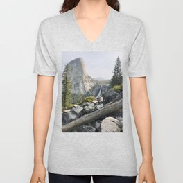 Liberty Cap and Nevada Falls in Morning Light Unisex V-Neck