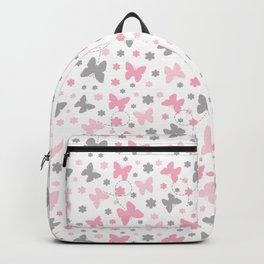 Pink Gray Butterfly Flower Backpack