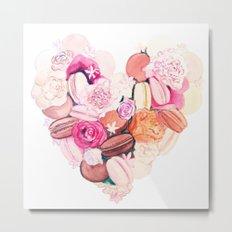 Macaroons Heart Metal Print