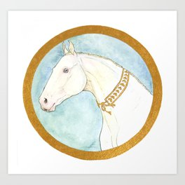 Akhal teke and Gold Art Print