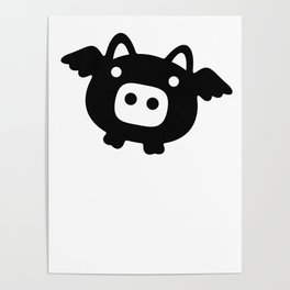 Pigs Will Fly (b&w) Poster