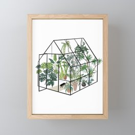 greenhouse with plants Framed Mini Art Print