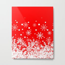 Snow Red background Metal Print