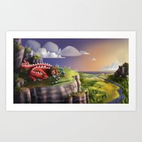 Art Print featuring Red Dragon Knight by Azbeen
