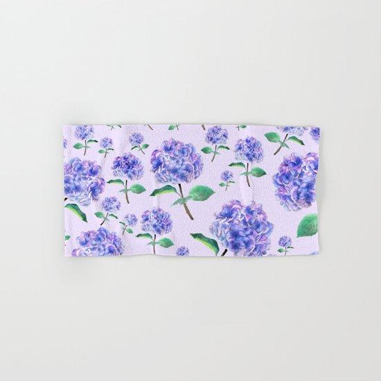 purple blue hydrangea in purple background Hand & Bath Towel
