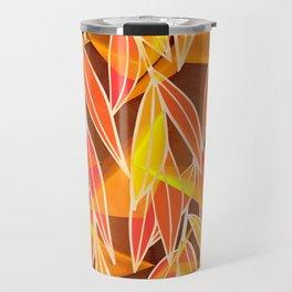 Bright Golden Orange Leaves Floral Print Travel Mug