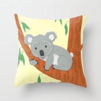 koala Throw Pillows featuring Koala by Claire Lordon