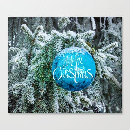 Christmas blue bauble Canvas Print
