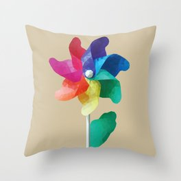 Colorful windmill pinwheel toy Throw Pillow