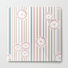 Retro . The floral pattern on striped background . Metal Print